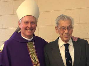 Bishop Kevin with 100 year old church member, Howard